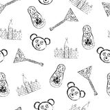 Russian symbols icons seamless pattern Stock Photography