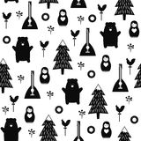 Russian symbols seamless pattern. Black and white cartoon illustration with bear, fir tree, balalaika, nested doll. Russian design for wrapping paper, textile Royalty Free Stock Images