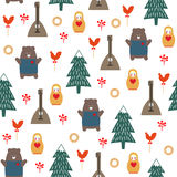 Russian symbols seamless pattern. Cute cartoon illustration with bear, fir tree, balalaika, nested doll. Russian design for wrapping paper, textile, fabric etc Stock Images
