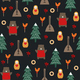 Russian symbols seamless pattern on dark background. Cute cartoon illustration with bear, fir tree, balalaika, nested doll. Russian design for wrapping paper Royalty Free Stock Images