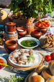Russian table with food. Russian table with traditional food stock photography
