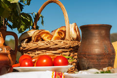 Russian table with food Royalty Free Stock Images