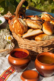 Russian table with food. Russian table with traditional food stock photo