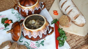 On the Russian table put a pot of food. Soup decorated with parsley. stock footage