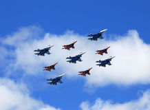 Russian tactical  bombers in flight Royalty Free Stock Photos