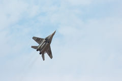 Russian tactical jet fighter MIG-29 make maneuvers Royalty Free Stock Photo