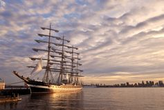 Russian tall ship and Downtown Vancouver Stock Photo