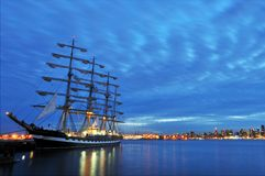 Russian tall ship and Downtown Vancouver Stock Image