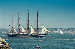 The Russian Tall Ship: Kruzenshtern. Russian Tall Ship participates in a parade of sail in Newport, RI. (Image taken from color negative Royalty Free Stock Images