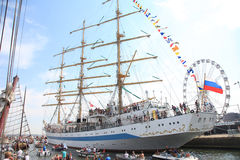 Russian tallship STS Mir in Amsterdam particiating at European large tallship event Royalty Free Stock Photo
