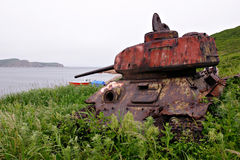 Russian tank 2. Jaltuhina island. Far from Vladivostok Royalty Free Stock Photos