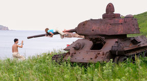 Russian tank. Jaltuhina island. Far from Vladivostok royalty free stock image