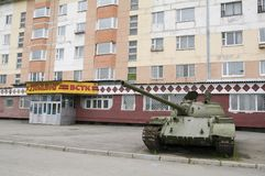 Russian tank in city Royalty Free Stock Photos
