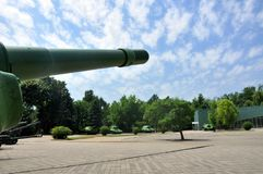 Russian tank and howitzer. Old weapons stock photo