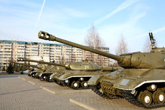 Russian tank - memorial to the victory in the WWII Royalty Free Stock Photography