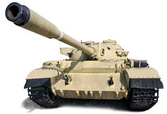 Russian tank T-55. T-55 - Soviet medium tank. Is based on the T-54. Produced from 1958 to 1979. Isolation on white Royalty Free Stock Image