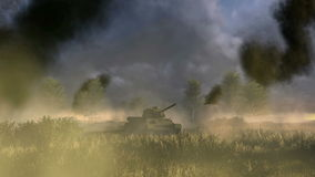 Russian Tank T 34 at the battlefield stock footage