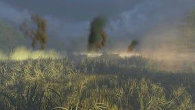Russian Tank T 34 crosses the battlefield stock footage