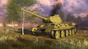 Russian tank T-34 on WWII battlefield Stock Photography