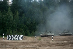 Russian tanks in the field Stock Photo