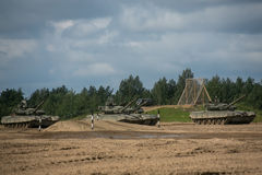 Russian tanks in the field Stock Photography