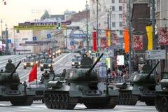 Russian tanks roll down Tverskaya street stock image