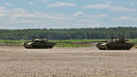 Russian tanks in show of military equipment stock video footage