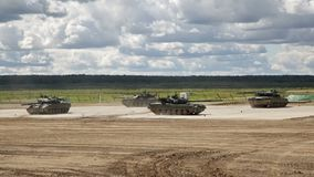Russian tanks in show of military equipment stock video