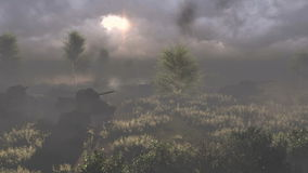 Russian tanks T 34 crossed the battlefield stock footage