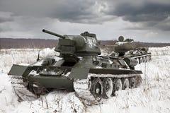 Russian Tanks T34. Legendary Russian Tanks T34 under a dramatic sky Stock Photos