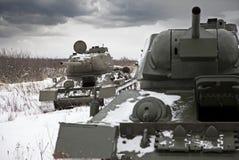 Russian Tanks T34. Legendary Russian Tanks T34 in a winter field Royalty Free Stock Photos
