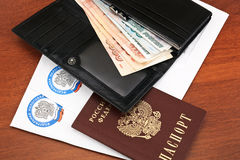 Russian tax documents and money Royalty Free Stock Image