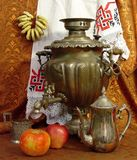 Russian tea. Traditional utensils for Russian tea drinking Stock Image