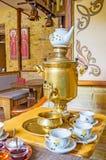 The Russian tea ceremony with samovar Stock Photo
