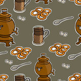 Russian tea ceremony vector seamless pattern Royalty Free Stock Photo