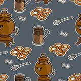 Russian tea ceremony vector seamless pattern Stock Photos