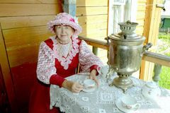 Russian tea drinking Royalty Free Stock Images