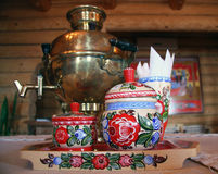 Russian tea drinking with samovar Stock Photos