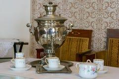 Russian tea samovar Concept traditional Russian culture object samovar.  stock photo