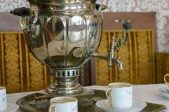 Russian tea samovar Concept traditional Russian culture object samovar.  royalty free stock photo