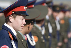 Russian teen in military uniform Royalty Free Stock Photography