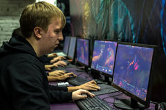 Russian Teenagers Playing Video Computer Games Stock Photo
