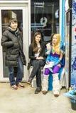 Russian Teenagers Relaxing ina LAN Video Game Bar Stock Photos