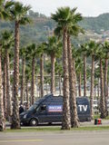 Russian television near the Olympic Park. Sochi Autodrom 2014 FORMULA 1 RUSSIAN GRAND PRIX . Royalty Free Stock Images