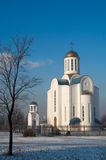 Russian temple 02. Wite church, sunlight  and blue sky Stock Image