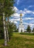 Russian temple complex in the village of Zavidovo. Russian Church in the village near the birch grove. Zavidovo village, Tver region royalty free stock photos