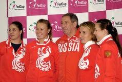 Russian tennis team-1. BELGRADE - FEBRUARY 3 Russian tennis team after press conference,Alisa Klebanova,Vera Dushevina,coach Shamil Tarpishchev,Svetlana Royalty Free Stock Image
