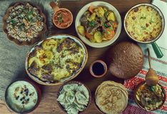 Russian classic cuisine. Russian 19th century classic cuisine , assorted dishes, Top view royalty free stock image