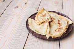 Russian thin blini Pancakes . Maslenitsa Maslenitsa is a Maslenitsa food festival. Top view with copy space stock photography