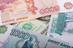 Russian Thousand Rubles and Dollar Banknotes Royalty Free Stock Photos